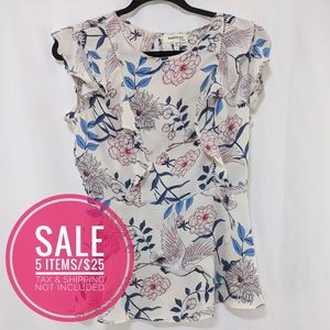 Monteau Bird and Floral Ivory Sleeveless Blouse L